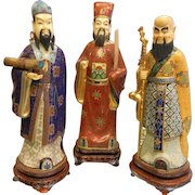 Set of 3 Vintage Large Chinese Scholar Cloisonne Statues