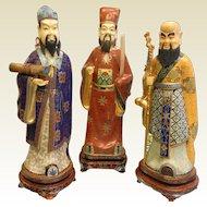 Set of 3 Vintage Large Chinese Scholar Cloisonne Statues