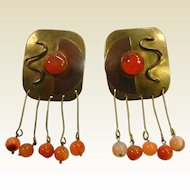 Vintage Brass Modernist Clip Earrings w/ Carnelian Beads