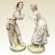 Large and Excellent Pair of Antique  Vion & Baury French Bisque Porcelain Sculptures