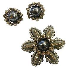 Vintage Miriam Haskell Brooch & Clip Earrings Set