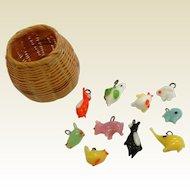 Vintage Hand Blown Glass Animal Charms w/ Miniature Basket
