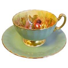 Vintage Aynsley England Bone China Teacup & Saucer Set - Green & Gold w/ Hand Painted Fruit
