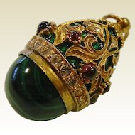 Fine Jeweled Malachite Egg Pendant