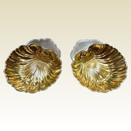 Pair of Fine Gorham Gold Plated Sterling Silver Shell Dishes