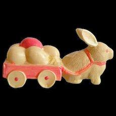 Vintage 1920's Plastic Easter Bunny w/ Egg Cart - Made in Japan