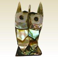 Vintage Abalone Owl Pendant