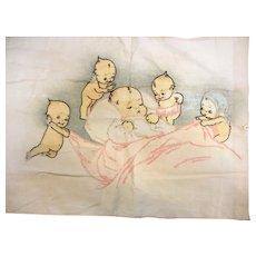 Vintage Hand Embroidered Kewpie Pillowcase