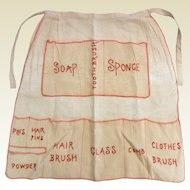 Vintage Hand Made Embroidered Linen Toiletry Apron