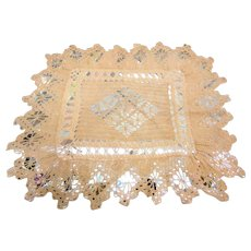 Pair of Hand Crochet Doilies Dated 1880