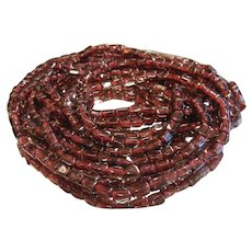 Pair of Fine Long Natural Garnet Bead Necklaces