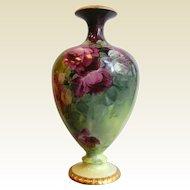 Large Superb Hand Painted BELLEEK Willets Gilt Floral Vase Signed Le Baun