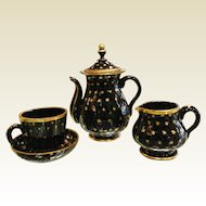 Vintage Gilt Black Glass Tea Set