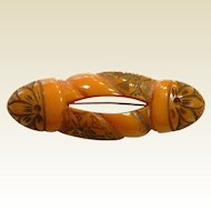 Vintage Carved Orange Bakelite Brooch