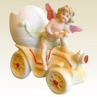 Vintage Bisque Egg Porcelain Cherub Figurine