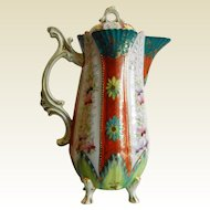 Vintage Enameled Porcelain Tea Pot