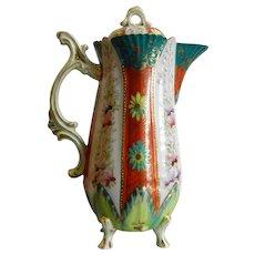 Vintage Enameled Porcelain Tea Pot
