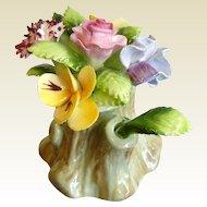 Vintage Royal Adderley Floral Bone China Tree Stump Flowers Figurine