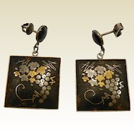Vintage Sterling Silver Damascene Screw Back Earrings