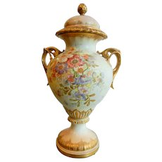 Very Fine Antique Large Royal Bonn German Hand Painted Gilded Urn