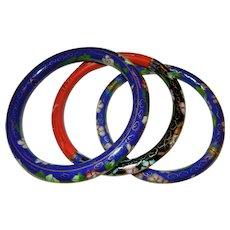 Set of Three Chinese Cloisonne  and Cinnabar Bangle Bracelets