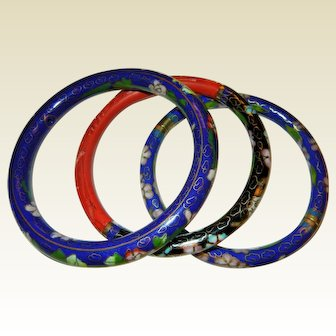 Set of Three Chinese Cloisonne  and Cinnabar Bangle Bracelets
