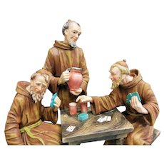 Vintage Capodimonte Monks Playing Cards Porcelain Figurine