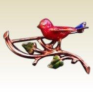 Vintage Enamel 14 k Bird Brooch with Diamond Eye
