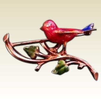 Vintage Enamel 14 k Bird Brooch with Diamond Eye