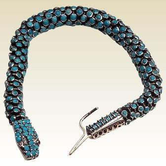 Antique Gold Diamonds and Silver Turquoise Snake Bracelet