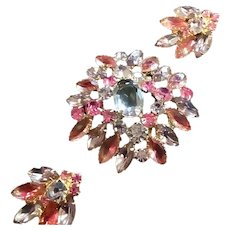 Vintage Rhinestone Pink and Mauve Brooch and Earring Set