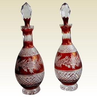 Old PAIR of Vintage Red and Clear Crystal Decanters