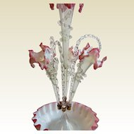 Antique Victorian Cranberry and Opalescent Glass Center Piece Epergne