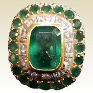 Vintage Large  Estate Emerald & Diamond Ring