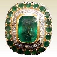 Vintage Large  Estate Emerald & Diamond Ring