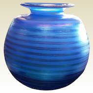 Blue Iridescent  Signed Art Glass Vase
