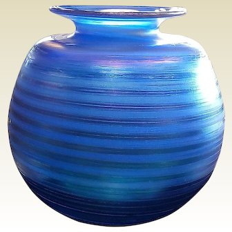 Blue Iridescent  Signed Art Glass Vase