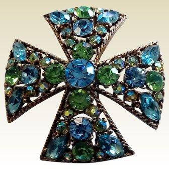 Vintage Blue Green Maltese Rhinestone Brooch Signed Regency.