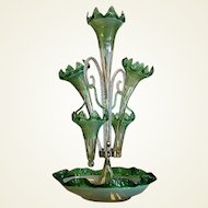 Large Antique Ribbed and Green Glass Epergne