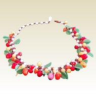 Fine Vintage Multi Color Glass Fruit Necklace Czechoslovakia