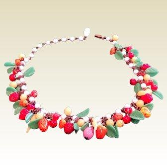 Fine Vintage Multi Color Glass Fruit Necklace Czechoslovakia