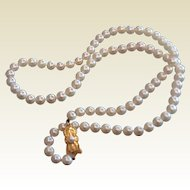 "Fine Signed Mikimoto Pearl Necklace - 21"" 18 K Clasp"
