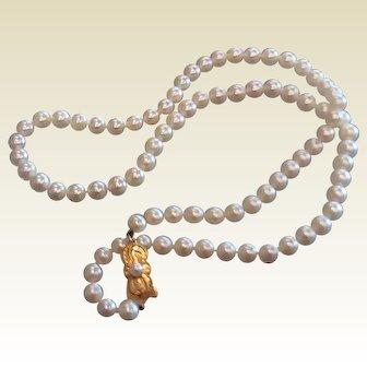 "Fine Signed Mikimoto Pearl Necklace - 21"" 18 K Clasp"