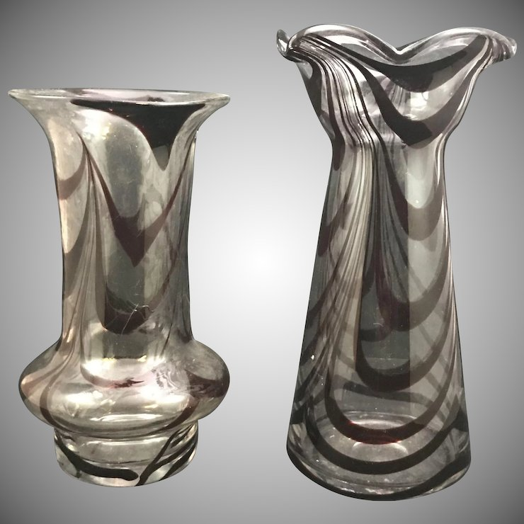 Contemporary Pulled Loop Art Glass Vases Tyrol Date Unknown