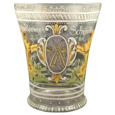 Fritz Heckert Historic Revival Enameled Glass Beaker, ca. 1880