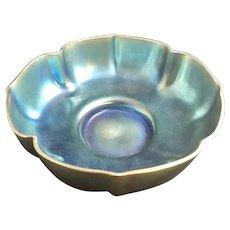 """WMF Myra Form Nr. J.304 Iridescent Glass Bowl with original retail store label,  """"SARTEUR ROMA"""" ca. 1935"""