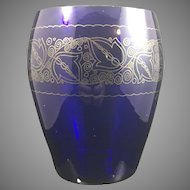 Glasfachschule Zwiesel decorated cobalt blue art glass vase, ca. 1920