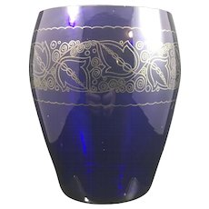 Glasfachschule Zwiesel decorated cobalt blue art glass vase, ca. 1920
