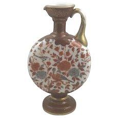 Harrach Neuwelt Enameled Bohemian Glass Ewer, Oriental style decoration, canteen shaped, ca. 1880