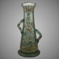 Legras/St. Denis Art Nouveau Glass Vase, ACB and enameled, ca. 1900 - RARE